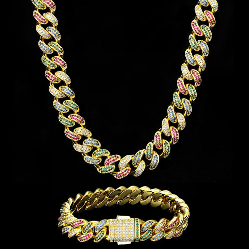 12mm Multicolored Iced Cuban Link Chain 14K Gold Plated-krkcom