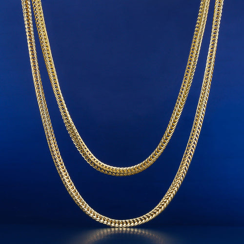 "3mm 14K Gold Franco Chain Set (22""+24"")-krkcom"