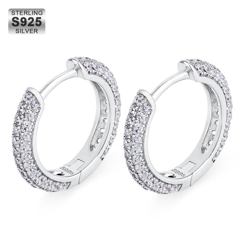 15mm Iced Round Hoop Earrings in 925 Sterling Silver-krkcom
