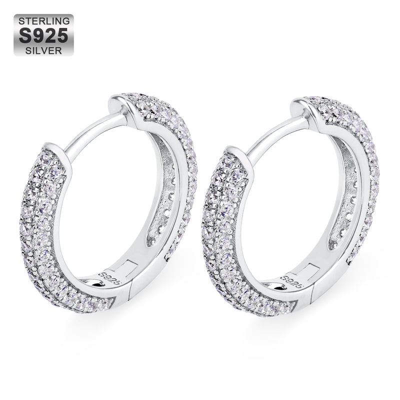 925 Sterling Silver 15mm Iced Round Hoop Earrings in White Gold