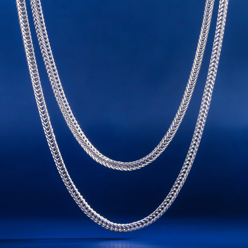 "3mm Franco Chain Set White Gold Plated (22""+24"")-krkcom"