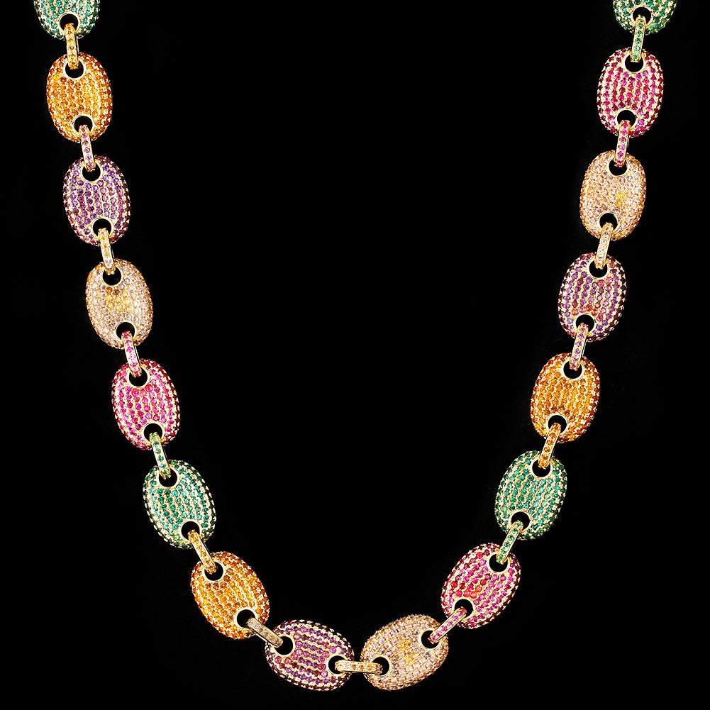 12mm Iced Gucci Link Chain 14K Gold Plated-krkcom