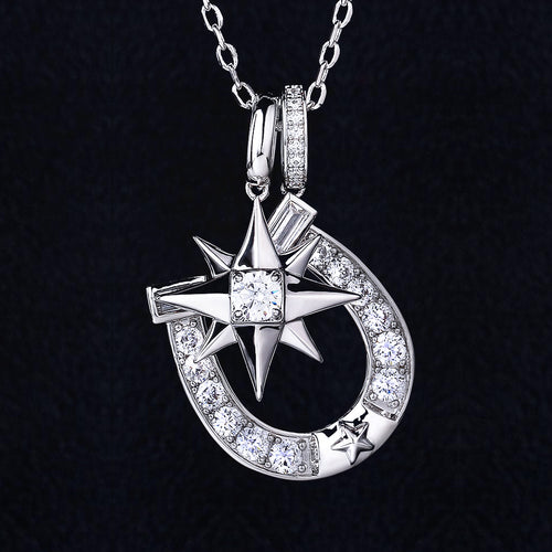 Iced Six-Point Star And Horseshoe Pendant in White Gold