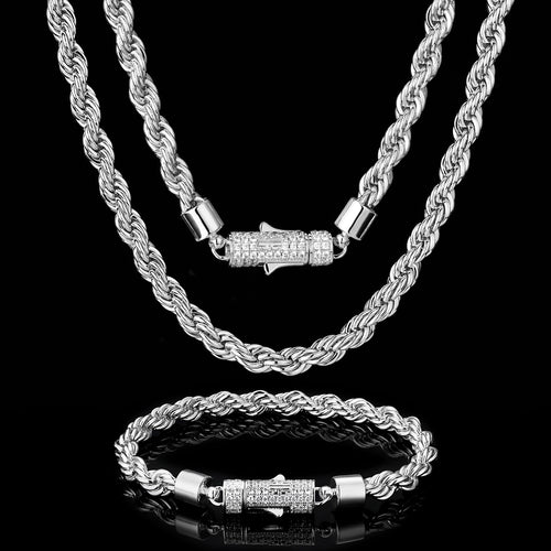 6mm Rope Chain and Bracelet Set White Gold Plated (Iced Lock)-krkcom