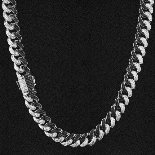 12mm Iced Out Two Tone Miami Cuban Link Chain Black & White - KRKC&CO