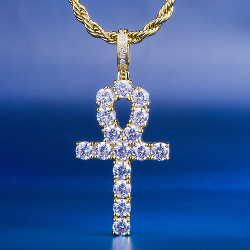Gold Iced Out Ankh Cross Pendant-krkcom