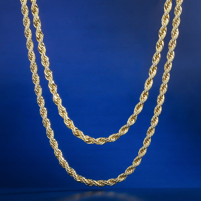 "3mm 14K Gold Rope Chain Set (22""+24"")-krkcom"