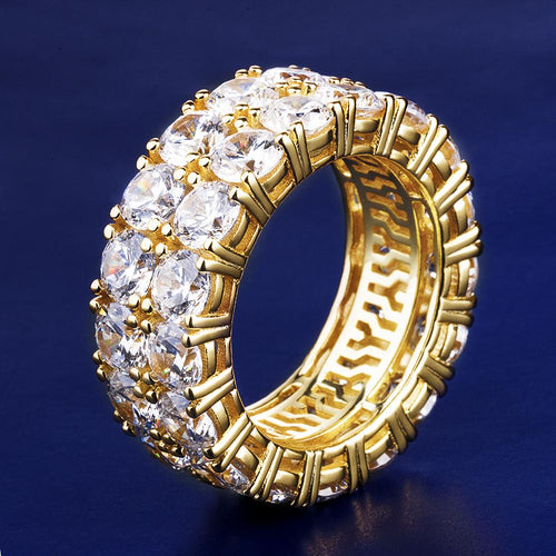 14K Gold Iced Out 925 Sterling Silver Two-Row CZ Ring-krkcom