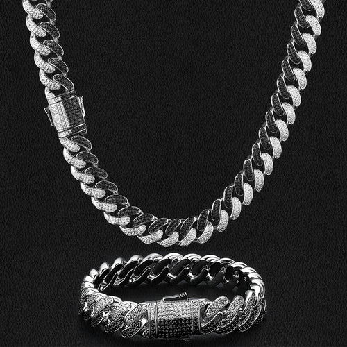 12mm Iced Two Tunes Cuban Link Chain and bracelet Set in Black and White - KRKC&CO