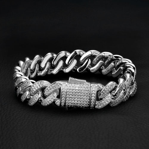 12mm Iced Cuban Link Bracelet White Gold Plated-krkcom