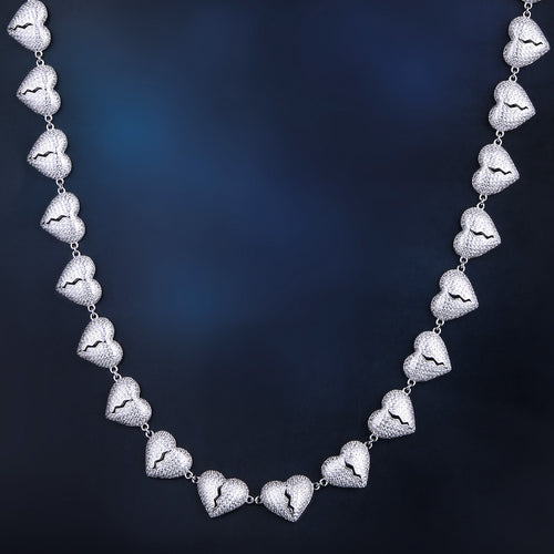 Iced Broken Heart Necklace in White Gold-krkcom