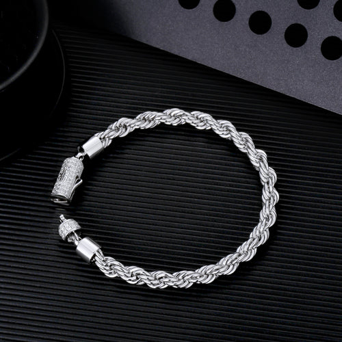 5mm White Gold Single Row Iced out Tennis Chain and Bracelet Set-krkcom