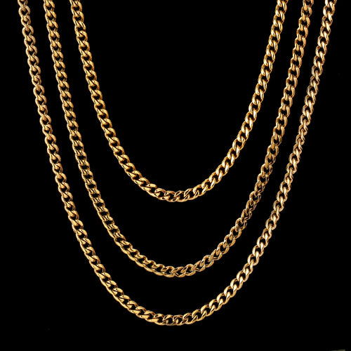 4mm Miami Cuban Link Chains set 18K Gold Plated-krkcom
