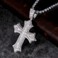 White Gold Baguette Cut Forever Love Cross Pendant-krkcom