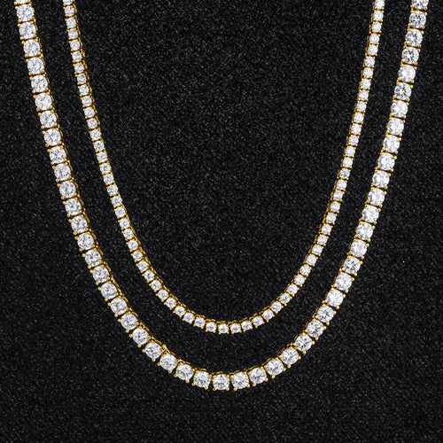 Tennis Chains Set in 14K Gold (5mm 24''+3mm 22'')-krkcom