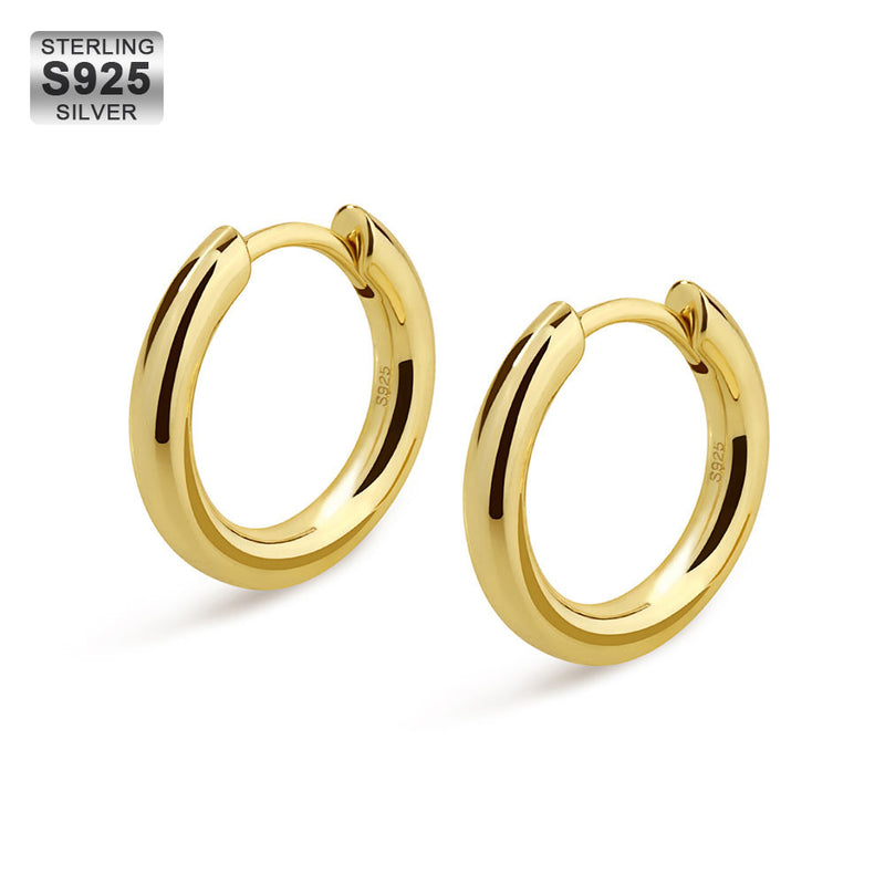 925 Sterling Silver 12mm Round Hoop Earrings in 14K Gold-krkcom