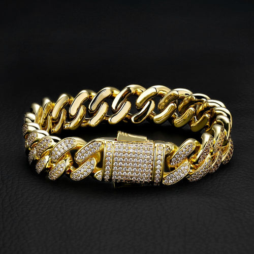 12MM Iced Cuban Link Bracelet 14K Gold Plated-krkcom