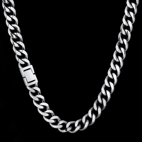 12mm Cuban Link Curb Chain White Gold Plated-krkcom