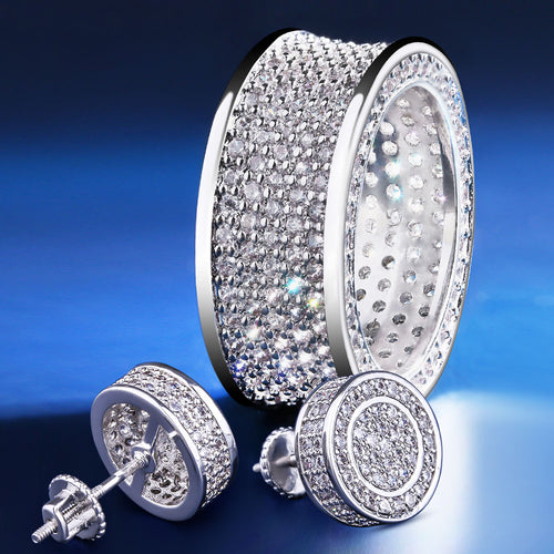 Iced Infinity Ring and Round Earrings Set White Gold Plated-krkcom