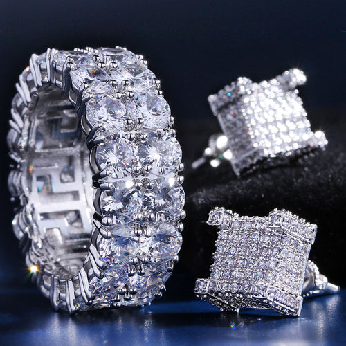 White Gold Iced Out Two-Row CZ Ring and 3D Earrings Set-krkcom