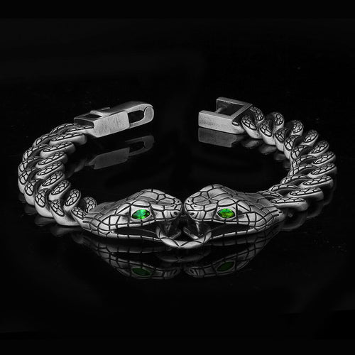 10mm Silver Two Snakes Cuban Bracelet-krkcom