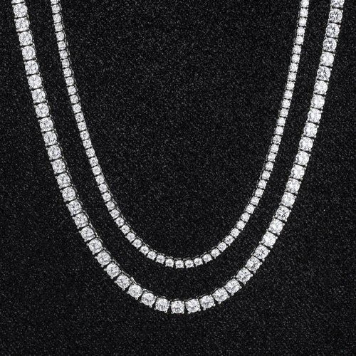 Tennis Chains Set in White Gold (5MM 24''+3MM 22'')-krkcom