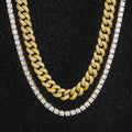 Miami Cuban Choker and Tennis Chain Set in 14K Gold-krkcom