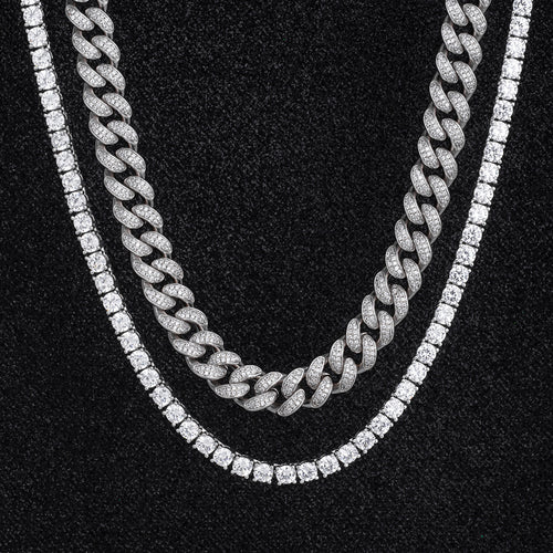 Miami Cuban Choker and Tennis Chain Set in White Gold-krkcom