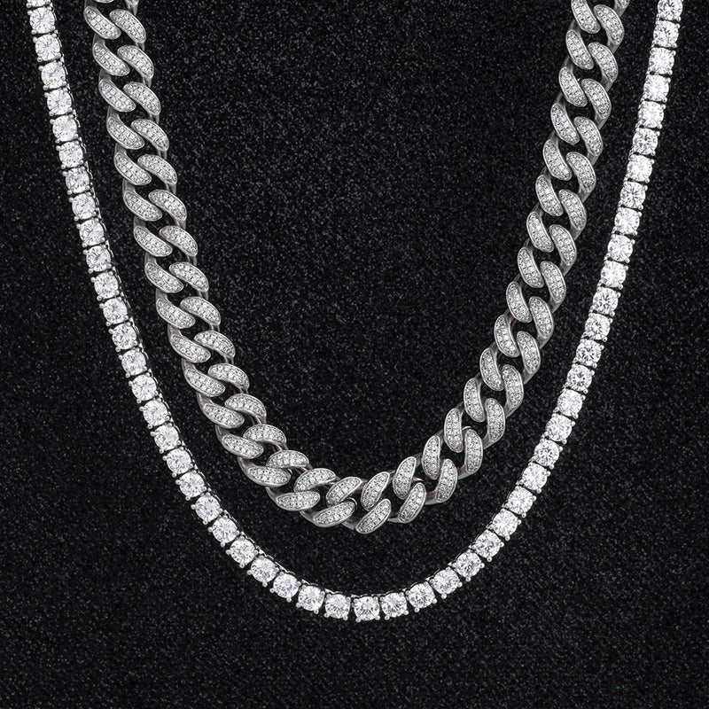 Miami Cuban Choker and Tennis Chain Set White Gold Plated-krkcom