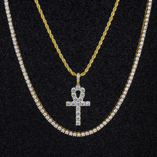 14K Gold Ankh Cross Pendant And Two Chains Set-krkcom