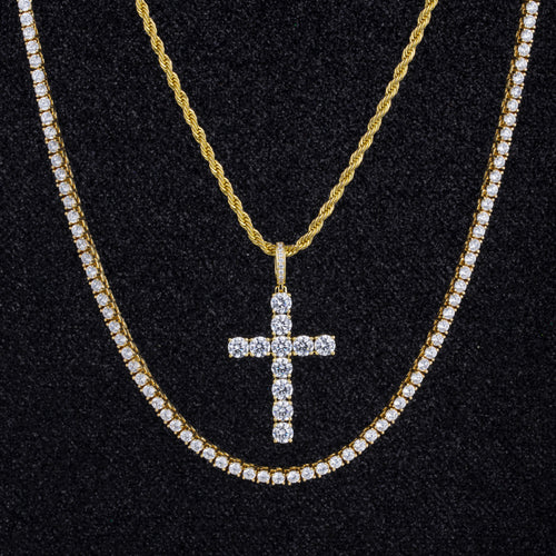 Iced Cross Pendant With Tennis Chain and Rope Chain 14K Gold Plated-krkcom