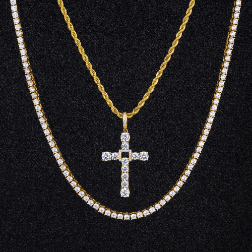 14K Gold Swing Cross Pendant And Two Chains Set-krkcom
