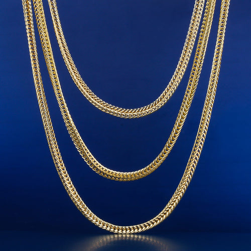 "3mm 14K Gold Franco Chain Set (20""+22""+24"")-krkcom"