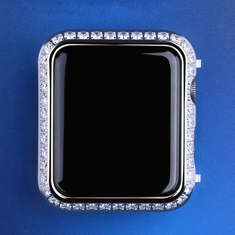 3MM White Gold Iced Out Apple Watch Cover for Apple Watch Series 3/2/1-krkcom