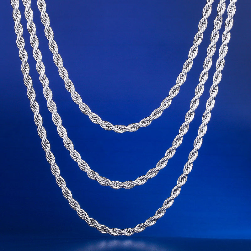 "3mm White Gold Rope Chain Set (20""+22""+24"")-krkcom"