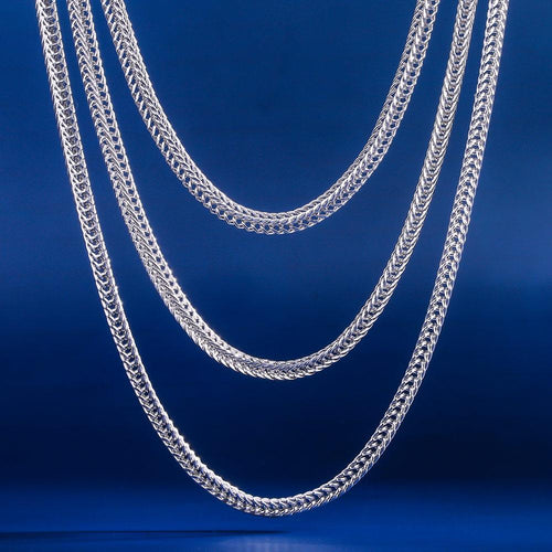"3mm White Gold Franco Chain Set (20""+22""+24"")-krkcom"