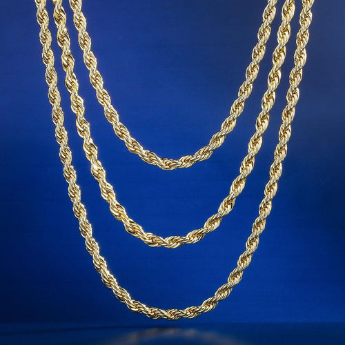 "3mm 14K Gold Rope Chain Set (20""+22""+24"")-krkcom"