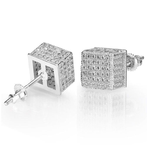 Iced Cubic Hip-hop Earrings in White Gold