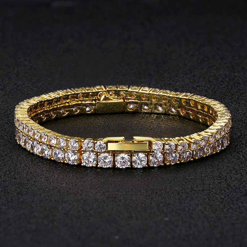 Tennis Bracelets Set 14K Gold Plated (3mm+4mm)