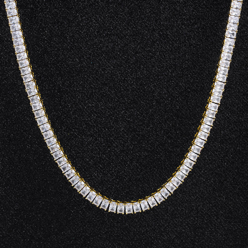 6 mm Baguette Cut Tennis Chain 14K Gold Plated-krkcom