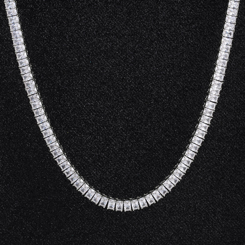 6 mm Baguette Cut Tennis Chain White Gold Plated-krkcom