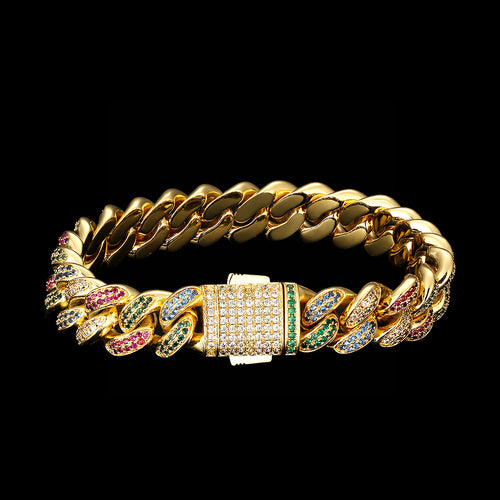 12MM Multicolored Iced Cuban Link Bracelet 14K Gold Plated-krkcom