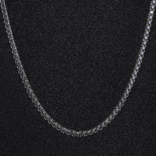 4mm Round Cut Black Tennis Chain in White Gold-krkcom