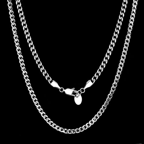 4mm Miami Cuban Link Chain White Gold Plated-krkcom
