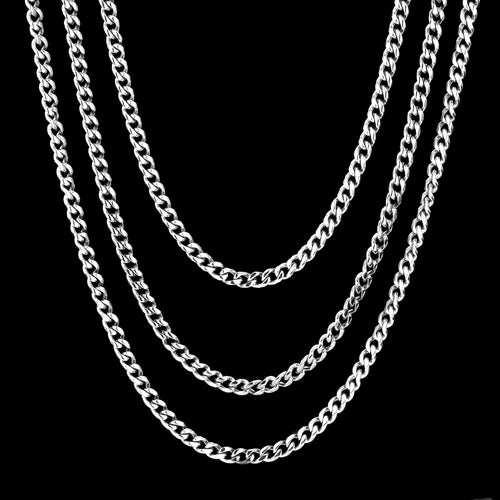 4mm Miami Cuban Link Chains set White Gold Plated-krkcom
