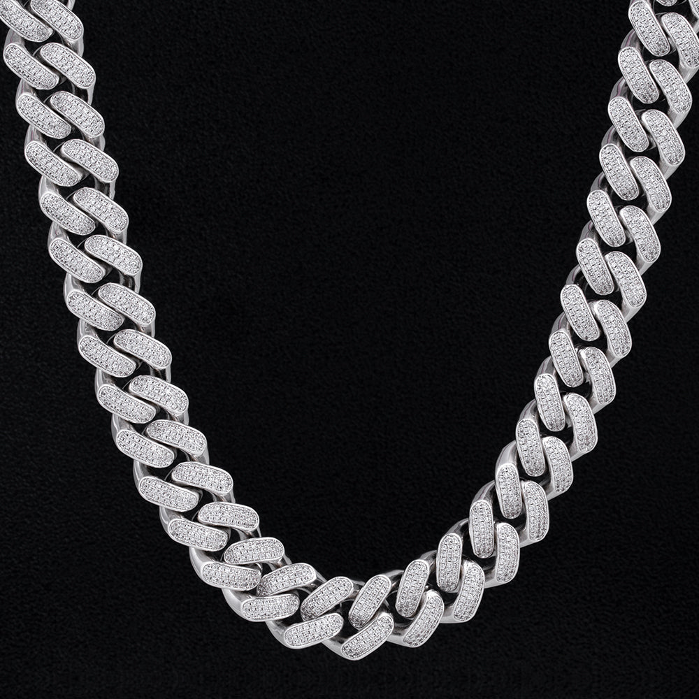 KRKC 18mm Iced Out Diamond CZ Mens Cuban Link Chain in White Gold