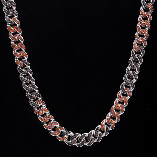 12mm Iced Two Tone Miami Cuban Link Chain Black & Red-KRKC&CO