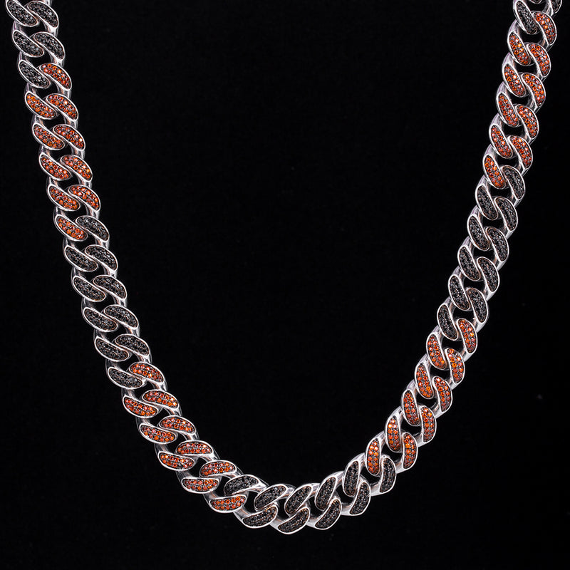 12mm Iced Two Tone Miami Cuban Link Chain Black & Red-krkcom