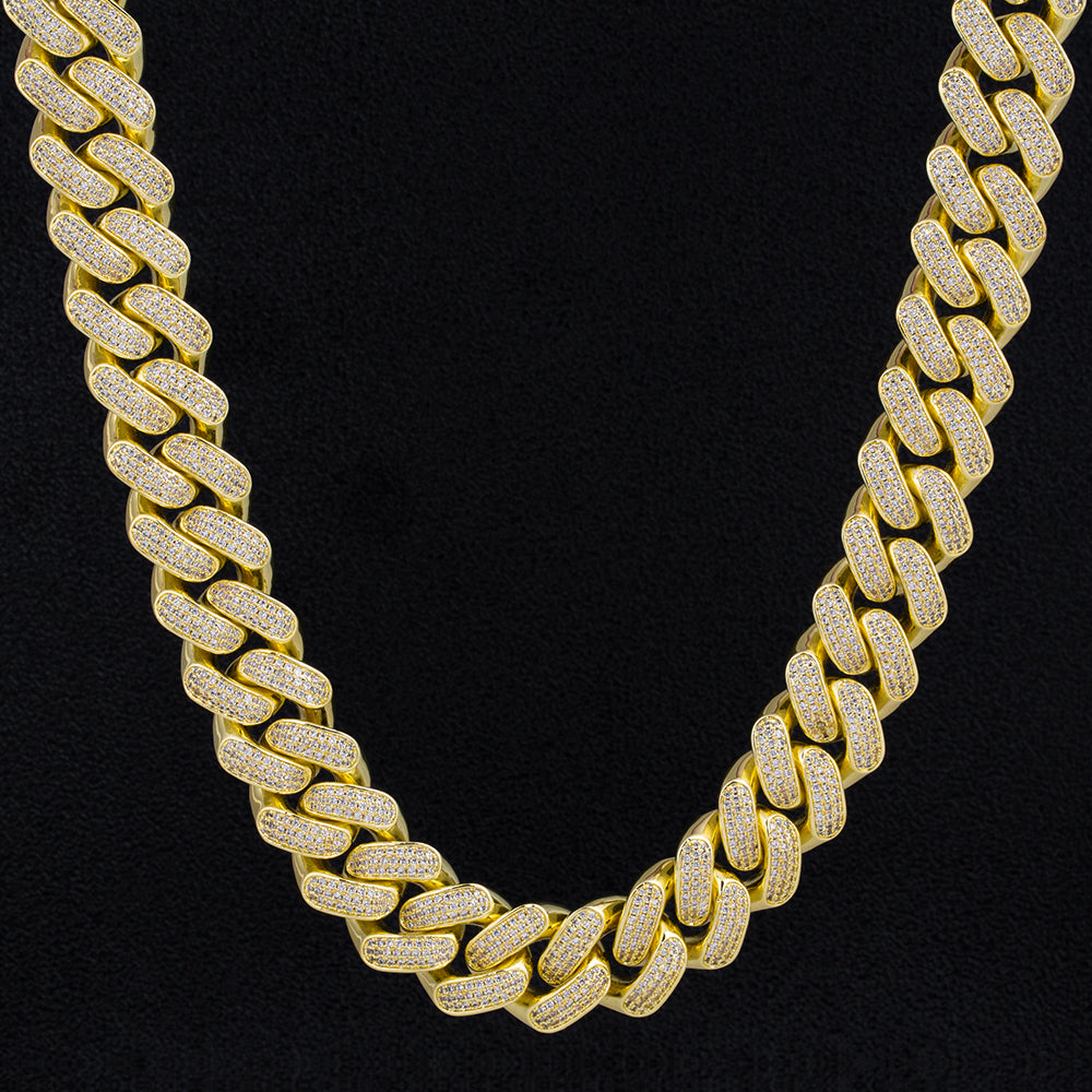 18mm Iced Cuban Link Chain 14K Gold Plated