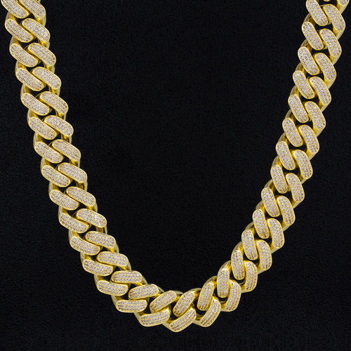 18mm Iced Diamond Cut Cuban Link Chain in 14K Gold-KRKC&CO